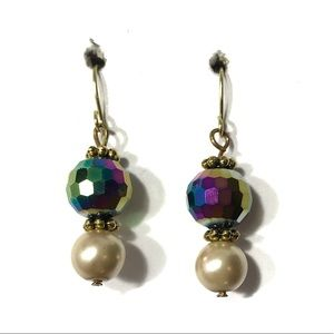 3 for $25 gold and rainbow beaded earrings